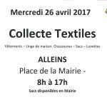Collecte textiles Lions Club – Mercredi 26 avril 2017 de 8h à 17h Place de la Mairie
