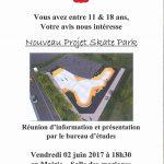 Nouveau projet skate park – réunion d'information et présentation par le bureau d'études – Vendredi 02 juin 2017 à 18h30 en Mairie