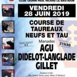 Course de taureaux neufs ou tau – Vendredi 28 juin 2019 à 21h30 aux Arènes