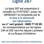 Ligne de bus 287 Suspendue cet été : communication de la Métropole Mobilité